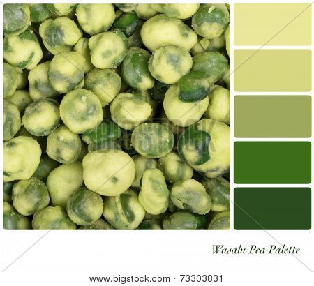 A background of dried Wasabi peas, in a colour palette with complimentary colour swatches.
