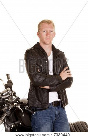 Man In Black Jacket Motorcycle Stand By Fold Arms