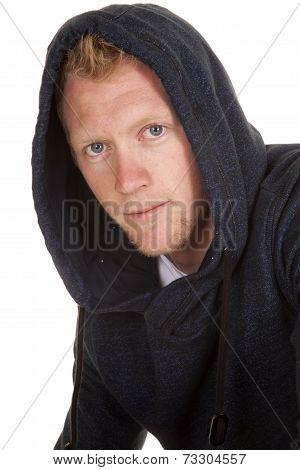 Man In Hoodie Looking Close Blond