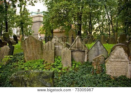 Tombstones At The Old Jewish Cemetery In Prague