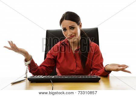 Woman Handcuff To Desk
