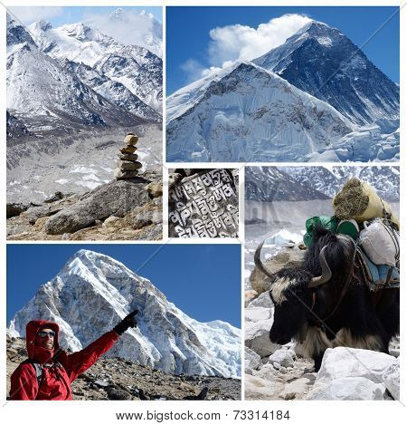 Collage Of Popular High Altitude Touristic Route Everest Base Camp Trek, Himalaya Mountains