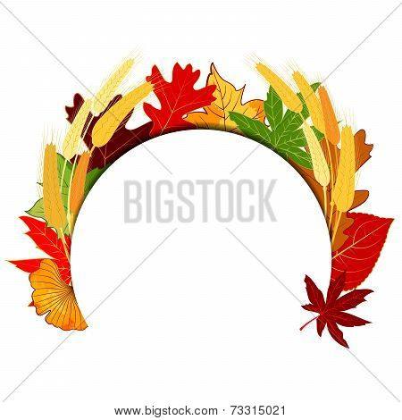 Thanksgiving Colorful Autumn Leaf With Golden Wheat Background
