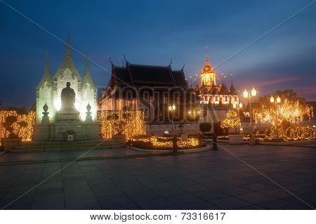 Scenic Of Twilight At Wat Rat Natda Ram Worawihan Monastery.
