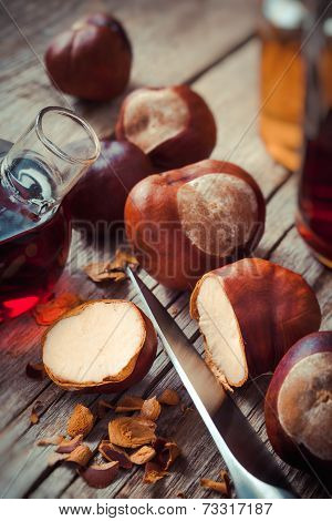 Chestnuts And Bottle With Tincture