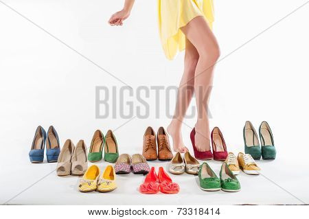 Sexy woman's legs with shoes collections