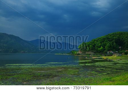 Landscape With Lake And Mountains Before The Storm