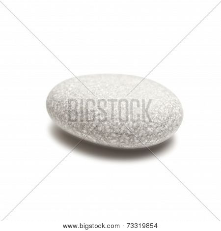 Smooth Gray Stone Isolated On A White