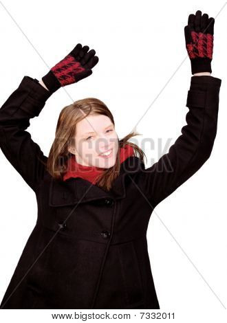 cheerful girl waving