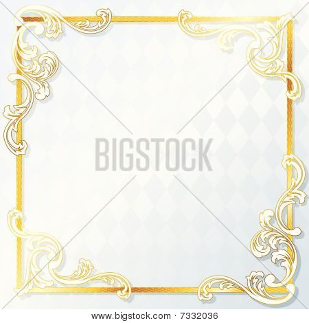 Beautiful rococo wedding frame Stock vector