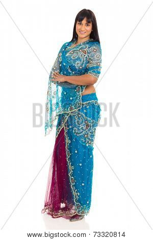 pretty indian lady posing in saree isolated on white background