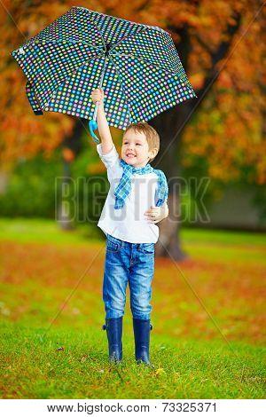 Happy Boy Walking Under An Autumn Rain