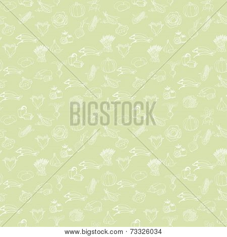 Kitchen Seamless Pattern With White Vegetables On Light Green Background. Vector Illustration