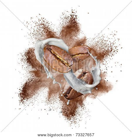 Coffee beans explosion and milk splash isolated on white background