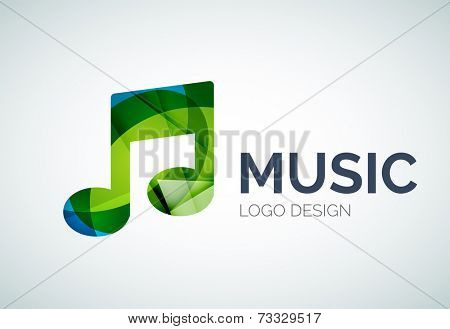 Abstract music, note icon logo design made of color pieces - various geometric shapes