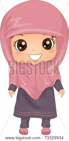 Illustration Featuring a Woman Wearing a Muslim Dress