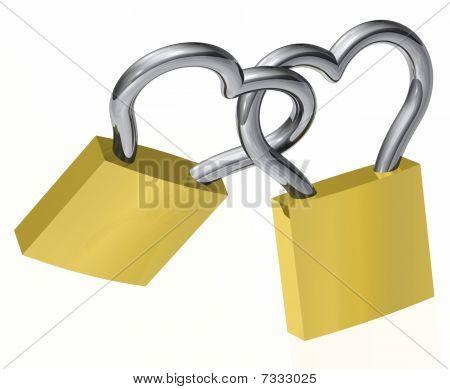 Locks - Heart Shaped, isolated