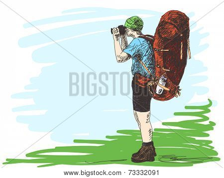 Trekking man with photo camera, Hand drawn Vector illustration Color sketch