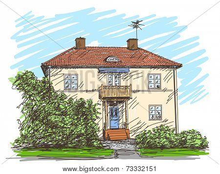Two floor house facade, Vector sketch, Hand drawn color illustration