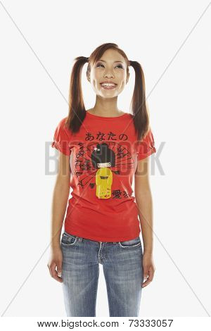 Asian woman with ponytails