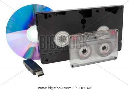 Usb, A Disk, A Videocassette And  Audiocassette