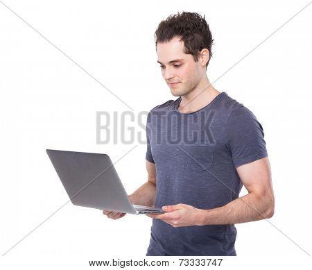 Caucasian man use laptop computer