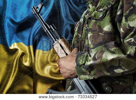 Ukraine waving flag with soldier