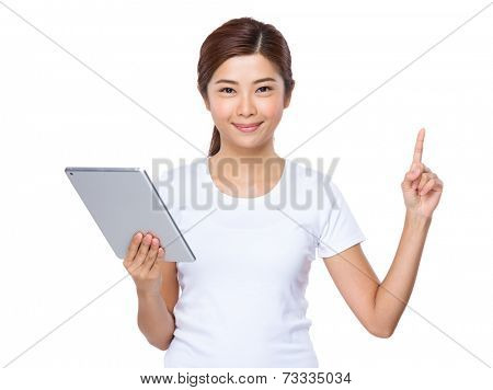 Woman use digital tablet with finger up