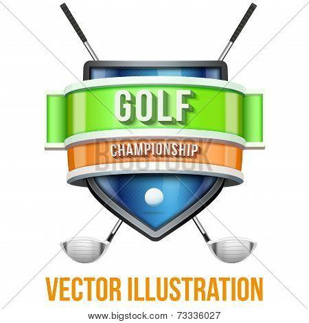 Label for golf sport competition. Bright premium design. Vector Illustration.