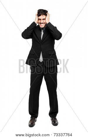 Desperate businessman portrait full length