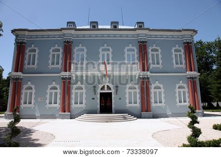 CETINJE, MONTENEGRO - JUNE 09, 2012: The residence of the President of the Republic of Montenegro, in Cetinje, the old capital of Montenegro, on June 09, 2012