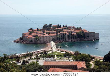 SVETI STEFAN, MONTENEGRO - JUNE 09, 2012: Saint Stephen resort island, Montenegro, on June 09, 2012