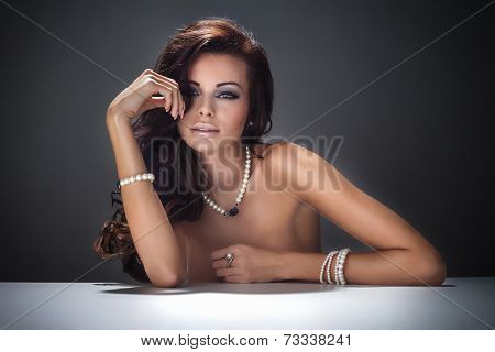Beauty Portrait Of Brunette Girl