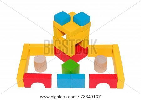 Hand-made article from multi-colored children's wooden cubes