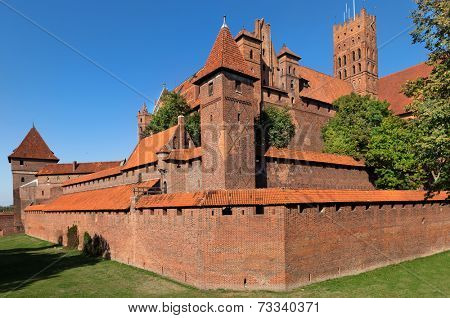 Malbork castle, Teutonic Knights' fortress also known as Marienburg, UNESCO World Heritage Site, Poland.