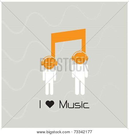 Creative Music Note Sign Icon And Silhouette People Symbol. Musical Symbol.