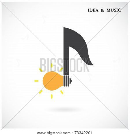 Creative Music Note Sign And Light Bulb Symbol.