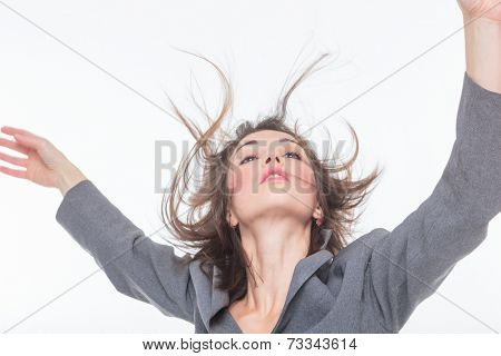 Woman face with hair motion  close up portrait.