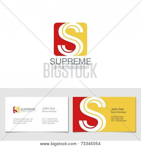 Corporate Logo S Letter company vector design template. Logotype with identity business visit card.