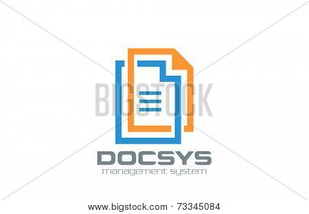 Electronic Digital Document logo design vector template. Web solution circulation system icon. File data transfer concept idea. Corporate Network logotype.