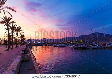 Cartagena Murcia port marina sunset in Mediterranean Spain