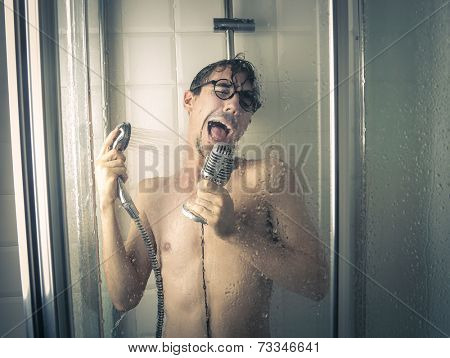 A singer under the shower