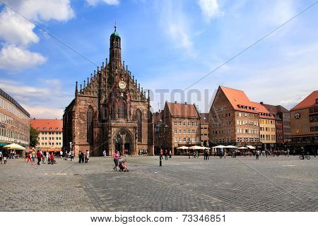 Nunurnberg, Germany - July 13 2014: The Frauenkirche (church Of Ladies) In Hauptmarkt, Nuremberg, Ba