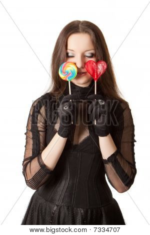 Gothic Girl With Two Lollipops