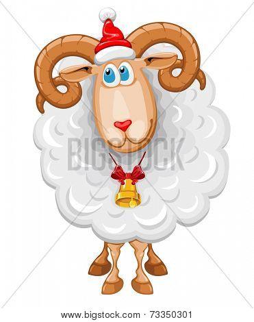 Christmas sheep in Santa hat, symbol of year 2015