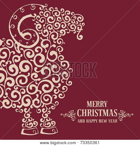 Christmas greeting card with stylized sheep, symbol of year 2015