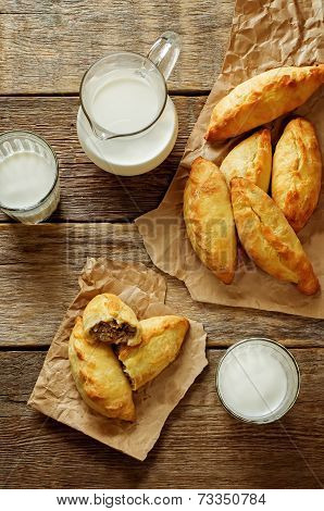 Pasties Stuffed Meat And Glass Of Milk