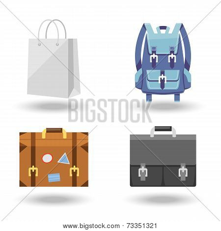 Set of four baggage vector illustrations