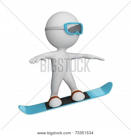 3D Person On A Snowboard