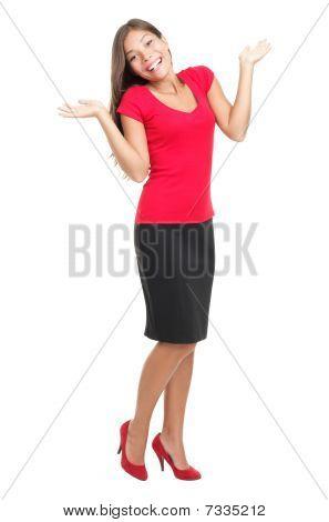 Happy Woman Shrugging